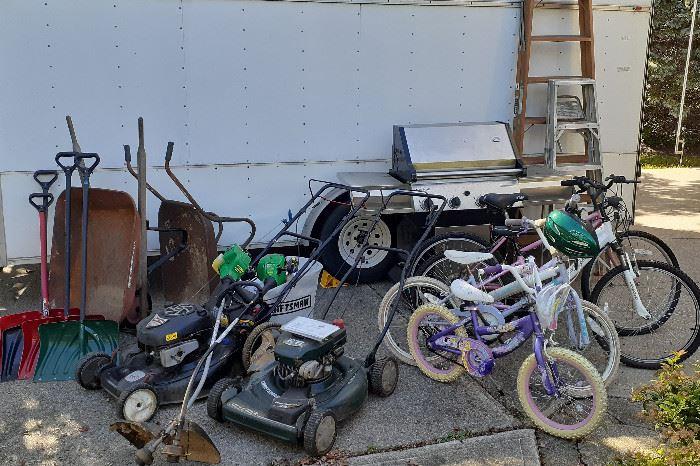 "JennAir 4 burner grill, Craftsman 22"" push mowers, gas weedeaters, wheelbarrows, chemical sprayers, garden chemicals, vintage screens, bicycles"
