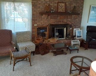 Lazy Boy leather recliner, arm chairs, coffee tables, mirrors, baskets