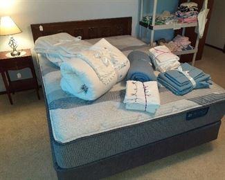 Serta iComfort queen mattress/box springs, queen head board, bedding, night stand