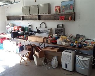 Coleman camping, tools, LG and Haier de humidifiers, paint supplies, box fans, coolers, vintage boxes and pails