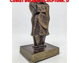 Lot 4 JIM BASS 77 Signed Abstract Cubist Bronze Sculpture. D