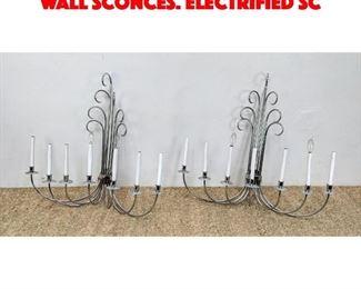 Lot 3 Pr Chrome Multi Arm Candle Wall Sconces. Electrified sc