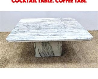 Lot 6 Square Marble Top Modernist Cocktail Table. Coffee tabl