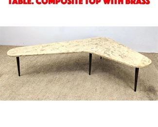 Lot 8 Italian Style Boomerang Table. Composite top with brass