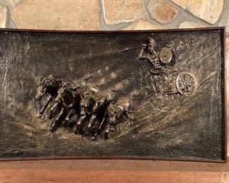 Vintage Wall Art 4 Horseman Roman Chariot Resin Very Heavy