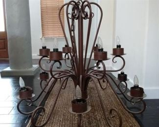 WROUGHT IRON CHANDELAIR, CUSTOME MADE