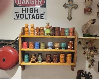 Nice Vintage Collection of Tiki Shot Glasses and Salt & Pepper Shakers just in