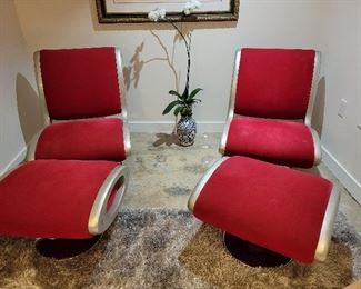 Mid Century Modern Atomic Jetson matching chairs w/ ottoman.