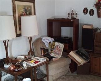 Retro lamps and end tables (as you enter the front door then left)