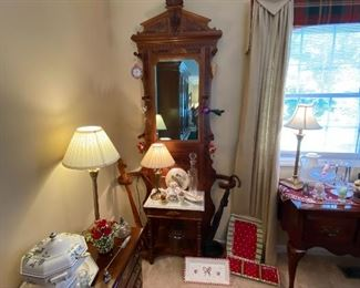 Antique Hall tree with Inlay Burl Wood East Lake to Victorian Era