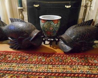 Pair large wooden carved koi