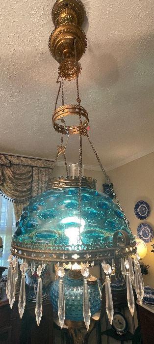 1-$795 Antique Fenton blue thumbprint light fixture   • 46high 16across