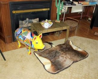 Life Size Pottery Pig, 1 of 2 Animal Hide Rugs