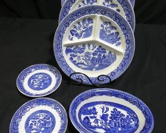 3 Blue Willow Divided Dinner Plates, & More