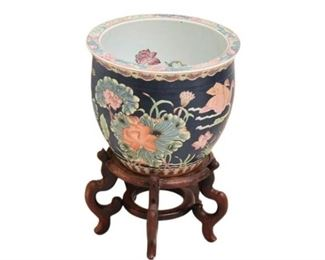3. Chinese Porcelain Vase on Stand