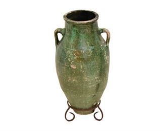 4. Large Green Pottery Umbrella Stand