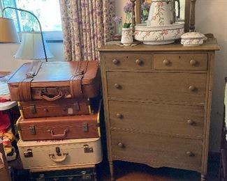 Vintage luggage in original Boxes Bowl and Pitcher Set Dresser
