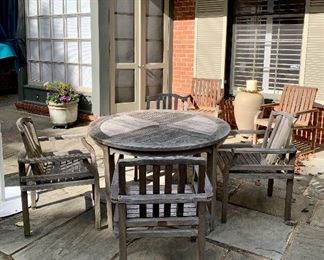 $1950 - Giati Designs, Santa Barbara teak table and four chairs