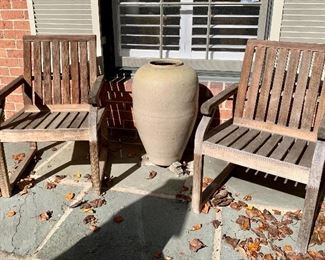 "$795 - Pair of Kingsley Bate teak chairs; 34"" H x 22.5"" W x 23"" depth; seat height 17"""