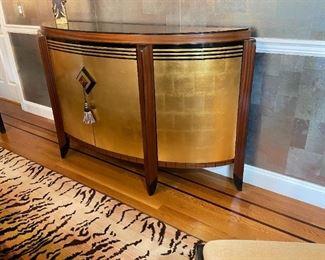 "Gold Leaf Glass Top Sideboard (71"" L x 17"" W x 40"" H)"