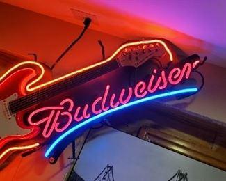Budweiser Neon Electric Guitar Sign