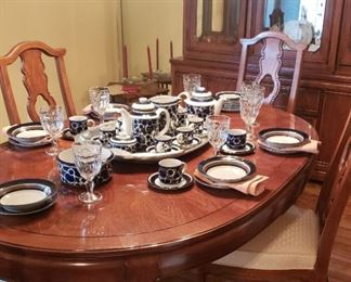 Dining table, chairs, china