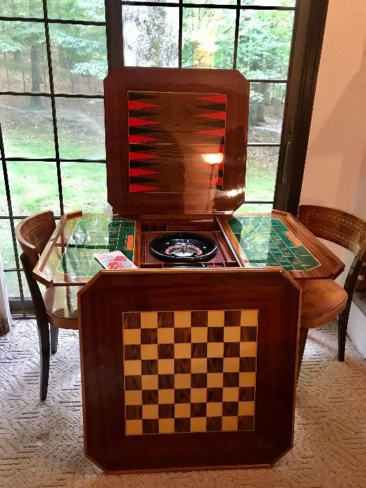 Vintage inlaid game table and chair set, imported from Italy. High quality, excellent condition. Gleaming wood.