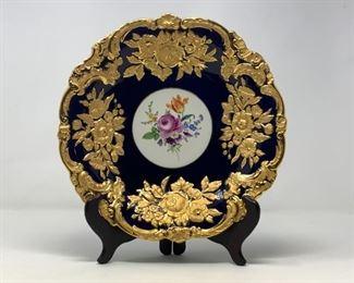 Meissen Porcelain Royal Blue and Heavy Gilt Cabinet Plate