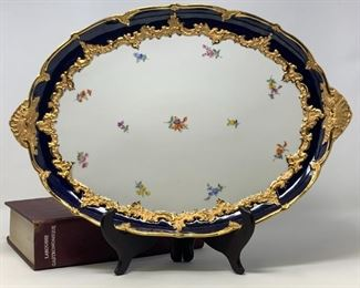 Meissen Porcelain Royal Blue and Heavy Gilt Strewn Flowers Platter