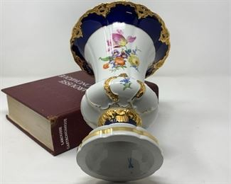 Meissen Porcelain Vase B Form in Royal Blue and Heavy Gilt