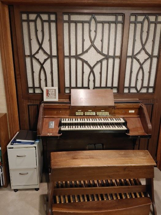 Wicks Organ. Entire organ fits in about an 8' cube minus the detached blower box (trunk size).