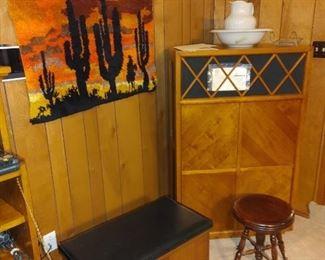 Mid Century Lane album storage chest and antique claw-foot stool