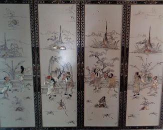 Vintage Asian art panels