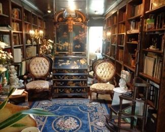 Maitland Smith Chinoiserie Secretary, rug, antique chairs, library steps, books
