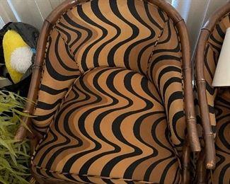 Pair of  swivel fabric chairs Century