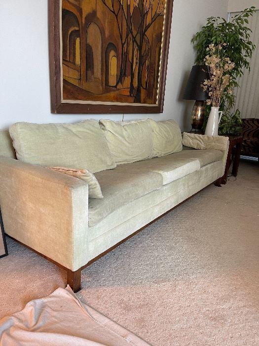 Modern celery green velvet sofa painting by Bruce McCracken