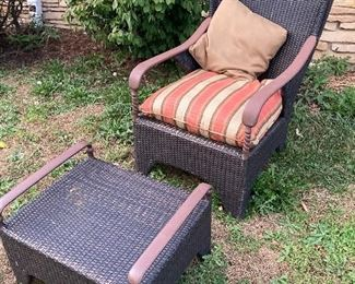 Wicker chair with ottoman and cushions $75