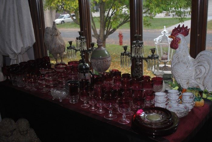 Really great glassware including a large collection of ruby flash