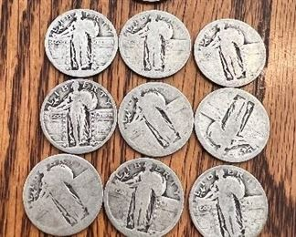 Lot 1  collection of 10 Standing Liberty Quarter   These are well circulated ungraded with no legible dates $40