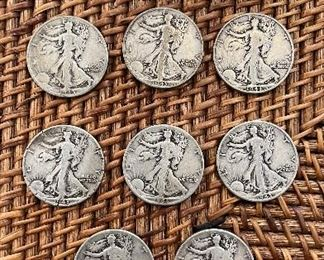 Lot #2  11 1943 Walking Liberty 1/2 Dollars Well Circulated ungraded coins 90% silver $120 /11         1943 S-1 , 1943 D-3, 1943 P-7
