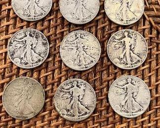 Lot#6  9 1944 Walking Liberty half Dollars $125 90% silver circulated ungraded Lot#8 1885 O Morgan Dollar $35 each 20 available ungraded coins -1, 1944 D 3, 1944P -5