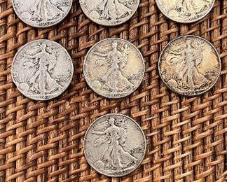Lot # 10 1942 Walking Liberty half Dollars total 7 1942D-1 1942-6 $130/7 circulated ungraded coins 90% silver