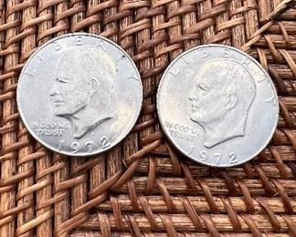 Lot #5 2 1972 Eisenhower Dollars $8 /2 Ungraded and Circulated Coins