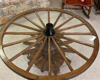 double wagon wheel table purchased at Shipshewana