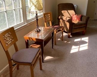 Oriental chairs, MCM table, recliner