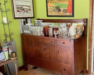 Large Mission Oak Buffet, folk art, glassware