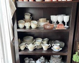 China! Fire King Ovenware (white/gold rim), National China (floral), Kyoto China (Japan), Fine Bohemian China (Czechoslovakia), Crown Ming (Jian Shiang)...                                 Milk glass, pitchers, vases...