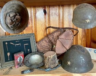 World War 2 Japanese (Okinawa) Helmet, Prince Albert stuff container, leather tooled pocketbook, shadow box picture with miniature metal tools.
