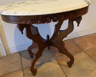 Mahogany Victorian marble top table