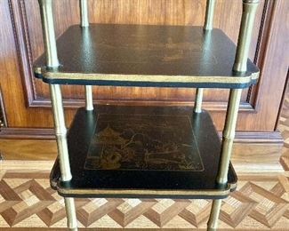 $160  - Chinoiserie two tier table with foot claw and pineapple accents